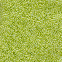 Image Seed Beads Miyuki delica size 11 chartreuse ab transparent iridescent matte