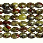 Dragon Blood Jasper 10 x 14mm flat oval dark green with red