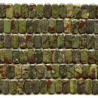 Dragon Blood Jasper 10 x 20mm double drill rectangle dark green with red