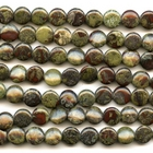 Dragon Blood Jasper 12mm coin dark green with red