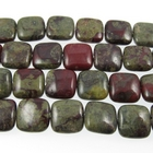 Dragon Blood Jasper 12mm square dark green with red