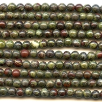 Dragon Blood Jasper 4mm round dark green with red