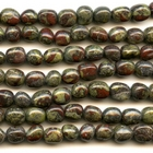 Dragon Blood Jasper 8 x 10mm tumbled nugget dark green with red