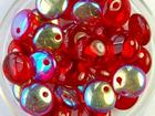 Czech Pressed Glass 6mm lentil red transparent iridescent