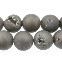 Druzy Quartz 12mm round grey