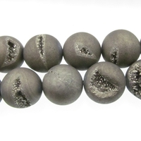 Druzy Quartz 14mm round grey