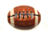 Clay Beads 12 x 17mm football brown, black and white clay