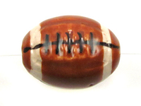Clay Beads 9mm football brown, black and white clay