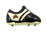 Clay Beads 12 x 20mm soccer shoe black and white clay