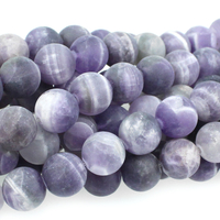 Dog Teeth Amethyst 8mm round purple