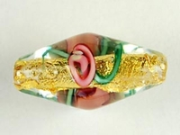 Image Czech Handmade Lampwork oval 9 x 18mm gold foil with pink flowers