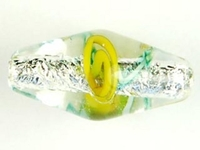 Image Czech Handmade Lampwork oval 9 x 18mm silver foil with yellow flowers