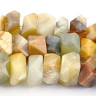 Flower Jade 7 x 12mm faceted nugget earth tones