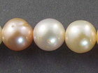 7mm semi-round peach and cream mix Freshwater Pearl Beads