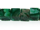 Crazy Lace Agate 6mm cube green (dyed)