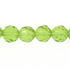 6mm faceted round lime green transparent