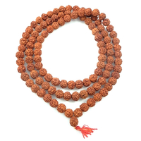 Image Wood Beads 11mm round reddish brown rudraksha seed