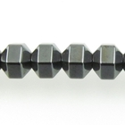 Hematite 6mm hex bicone (faceted) gunmetal grey