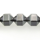 Hematite 8mm hex bicone (faceted) gunmetal grey