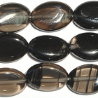 Ice Obsidian 10 x 14mm flat oval banded black and smoky