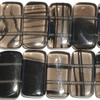 Ice Obsidian 10 x 20mm double drill rectangle banded black and smoky