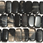 Ice Obsidian 5 x 10mm double drill rectangle banded black and smoky