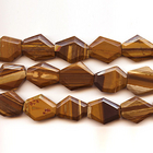 Iron Zebra Jasper 25 x 30mm faceted hexagon shades of brown