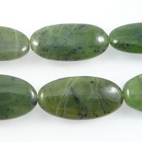 Jade 15 x 30mm oval deep green