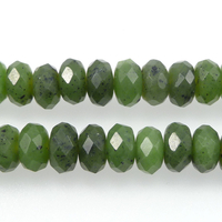 Jade 8mm faceted rondell deep green