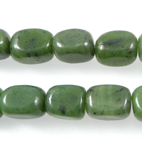Jade 8 x 10mm tumbled nugget deep green