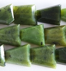 Jade appx 20 x 25mm faceted trapezoid deep green