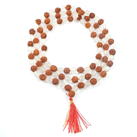 Wood Beads 9mm round reddish brown and clear rudraksha seed and clear stone