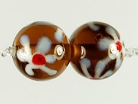 Image Czech Handmade Lampwork round 10mm brown with white flowers