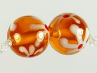 Image Czech Handmade Lampwork round 10mm topaz with white flowers