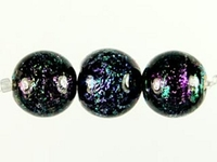 Image Czech Handmade Lampwork round 6mm purple with blue dichroic