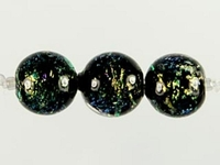 Image Czech Handmade Lampwork round 8mm green & purple dichroic