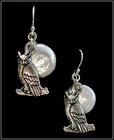 Full Moon Night Owl Pearl Earrings