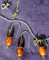 Autumn Acorns Necklace & Earrings Set