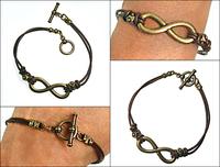 Leather and Brass Infinity Bracelet