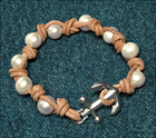 Nautical and Nice Pearl Leather Bracelet