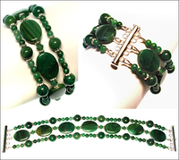 West African Jade and Swarovski Bracelet