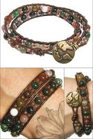 Fancy Jasper Czech Seed Leather Wrap Bracelet