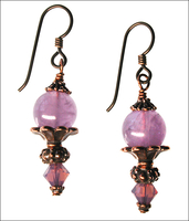 Lavender Amethyst and Copper Earrings