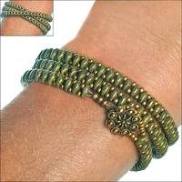 SuperDuo Olive Bronze Picasso Zippy Wrap Bracelet