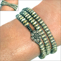 SuperDuo Opaque Ultra Luster Green Zippy Wrap Bracelet