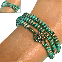 SuperDuo Turquoise Apollo Zippy Wrap Bracelet