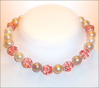 Peaches and Cream Crystal and Pearl Bracelet
