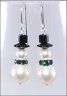 Frost and Green Sparkle Snowmen Earrings