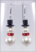 Frost and Red Sparkle Snowmen Earrings