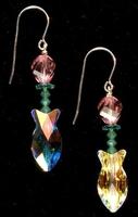 Crystal Fish Spring Flower Earrings